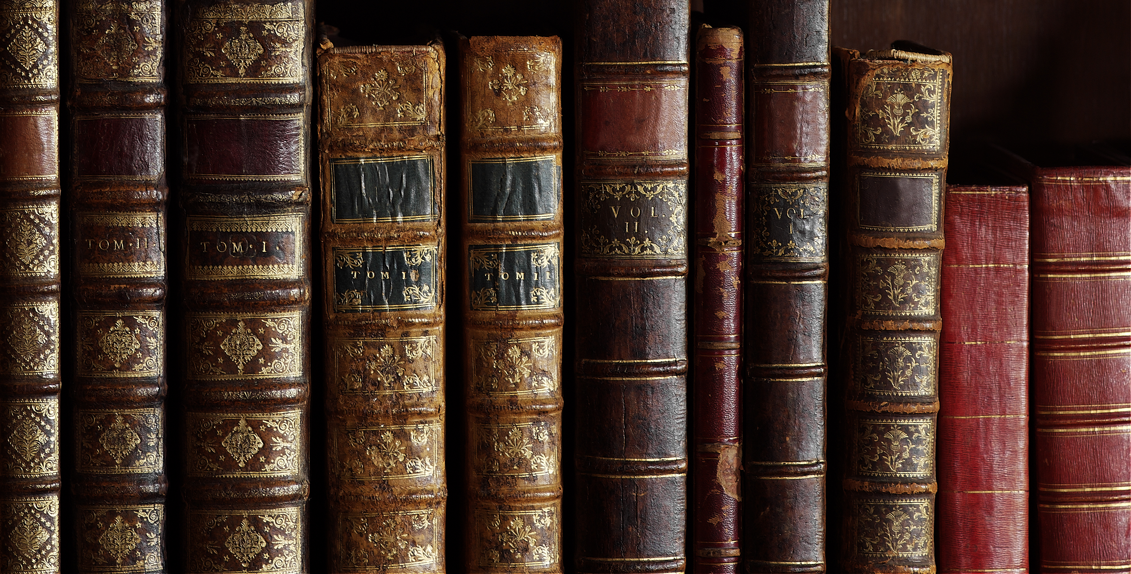 old books with vintage bindings and beautiful gilded leather book covers